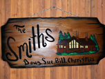 real wood sign cabin design