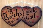 real wood sign double hearts