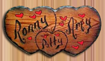 real wood sign triple hearts