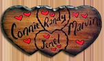 real wood sign quad hearts